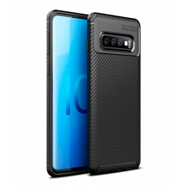 Black Plaid Fiber back with carbon print for Samsung Galaxy S10 Plus