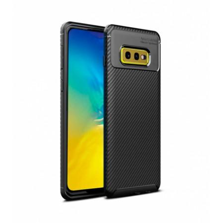 Black Plaid Fiber back with carbon print for Samsung Galaxy S10e