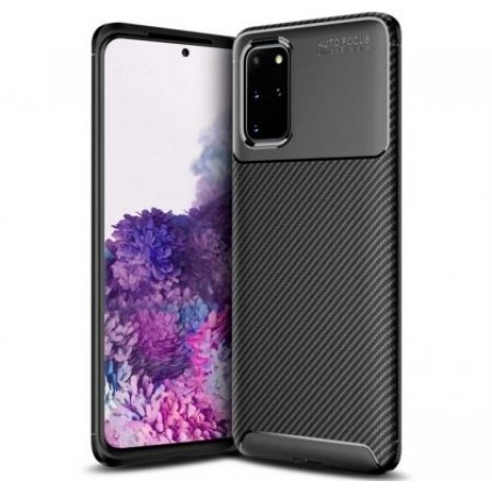 Black Plaid Fiber back with carbon print for Samsung Galaxy S20 / G980