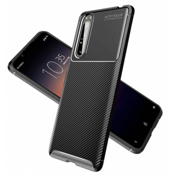 Black Plaid Fiber back with carbon print for Sony Xperia 1 II /  XQ-AT51, XQ-AT52