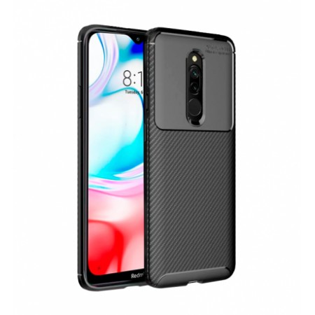 Black Plaid Fiber back with carbon print for Xiaomi Redmi 8 / M1908C3IC, MZB8255IN