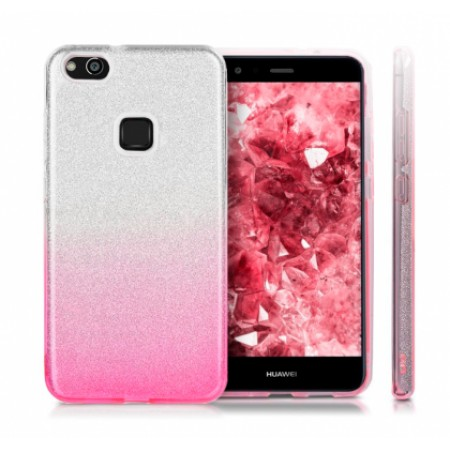 TPU Gel Silicone Case ENSIDA SHINE for Huawei P10 Lite WAS-LX1 silver/pink