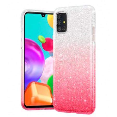 TPU Gel Silicone Case ENSIDA SHINE for Samsung Galaxy A41 / SM-A415F - silver/Pink