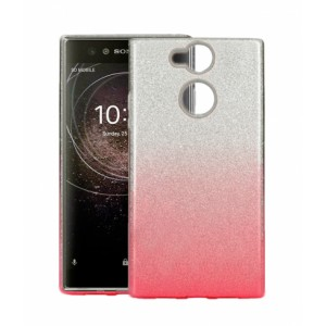 TPU Gel Silicone Case ENSIDA SHINE for Sony Xperia XA2 silver/pink