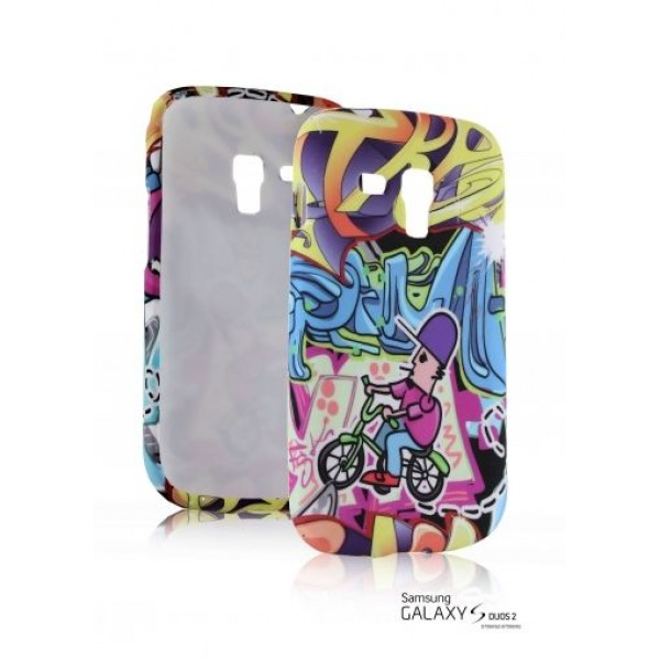 """TPU Silicone Case with color print """" Fun graffiti """" for Samsung Galaxy S Duos / S Duos 2 - S7562 / S7582"""