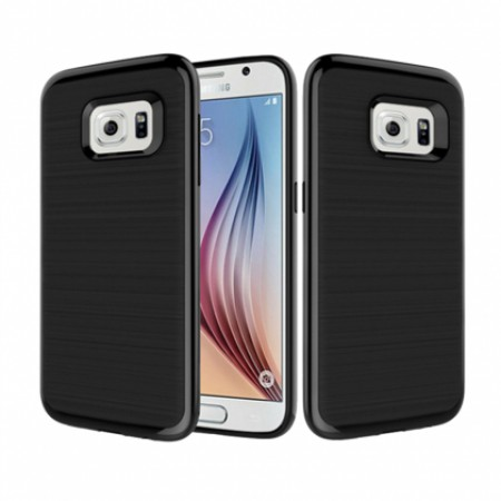 Silicone back with polycarbonate frame - black for Samsung Galaxy S6 edge G925