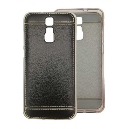 """TPU Gel Silicone Black - Print """"Leather"""" Case for ZTE Blade A610 Plus"""