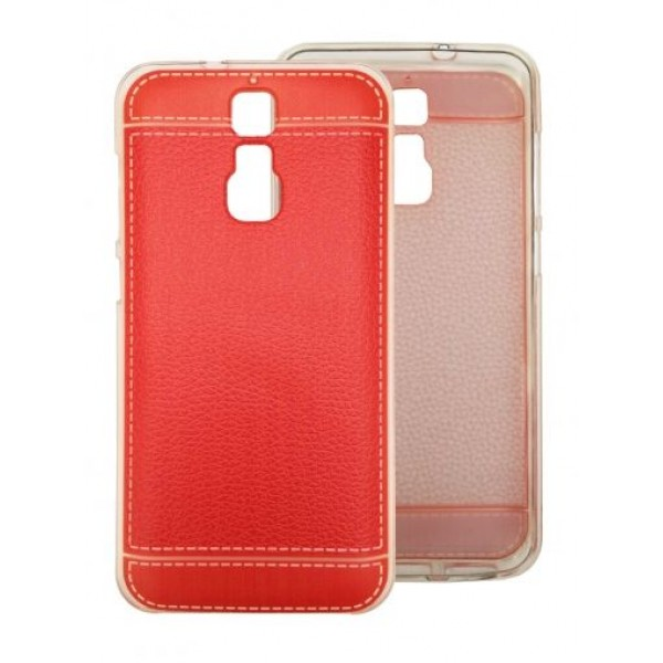"TPU Gel Silicone Red - Print ""Leather"" Case for ZTE Blade A610 Plus"