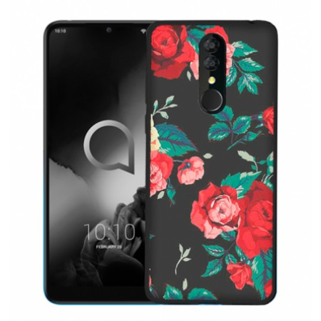 """TPU Gel Silicone - Print """" Roses"""" Case for Alcatel 3 2019  / 5053"""