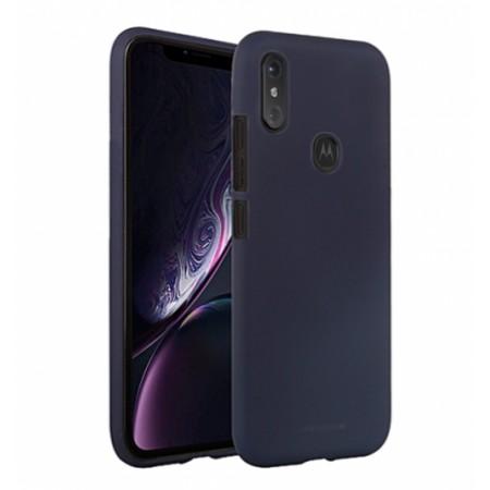 "Dark blue TPU Silicone jelly ""Mercury "" SOFT FEELING Case for Motorola One (P30 Play)"