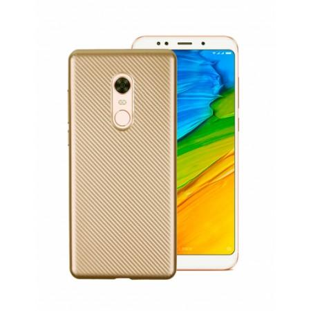 Gold silicone back with Carbon Effect i-Zore for Xiaomi Redmi Note 5 (Redmi 5 Plus)